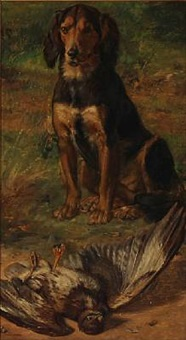 a hunting dog in front of a dead bird by jörgen roed