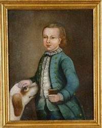 portrait of a small boy with a dog by joseph badger