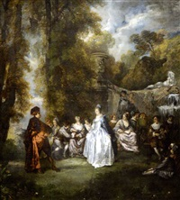 la danse dans le parc (after pater) by alexandre paul joseph veron