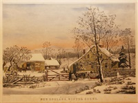 new england winter scene by currier & ives (publishers)