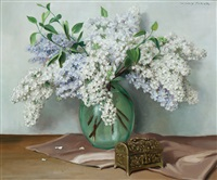 still life with lilac in a glass vase by willy fleur