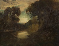 cows watering in a tonalist landscape by william keith