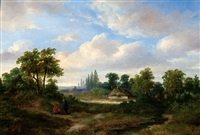 two pedestrians in a landscape by hermanus jan hendrik rijkelijkhuysen
