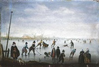eisvergnügen. schlittschuhläufer auf einem zugefrorenen fluß by anthonie van stralen