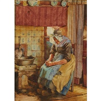 old woman by the hearth by walter langley