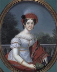 an extremely fine portrait of catherine paulovna, grand   duchess of russia, queen of wiirttemberg (1788-1819), by friedrich fleischmann