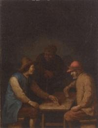 peasants playing cards in an interior by hubert van ravesteyn