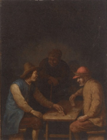 peasants playing cards in an interior by hubert van ravesteyn