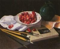 bodegon con cerezas, pincel y libro by rufino martos
