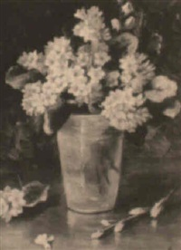 flowers in a blue vase by emily selinger