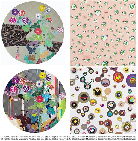 1. kansei korin gold, 2. with reverence, i lay myself before you – kōrin – chrysanthemum, 3. jellyfish eyes, 4. jellyfish eyes - white4 (5 works) by takashi murakami