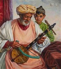 le musicien et son élève, maroc by louis john endres
