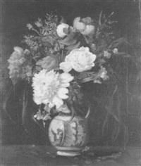 fleurs dans un vase de delft by louis adolphe tessier