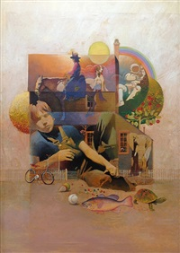 montage of boy, house, toys and animals by mark english