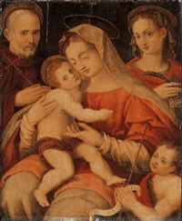 the madonna and child with saints john gualberto, catherine of alexandria and the youthful baptist by francesco brini