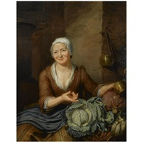 a woman in a barn interior with cabbages and carrots by hieronymus van der mij