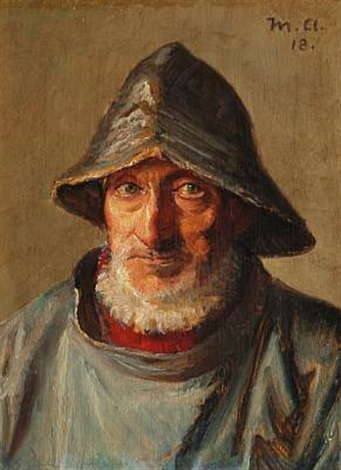 fisherman from skagen with sou'wester (niels møller?) by michael peter ancher