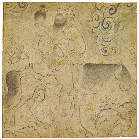 a monkey-trainer on horseback by reza-i abbasi