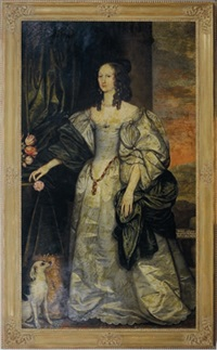 portraits of sir nicholas miller and his wife anne style, both standing full length by edward bower