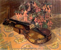 nature morte aux fuschias et au violon by jean constant raymond renefer