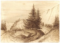mountainous landscape with pine trees by jacob esselens