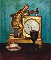 still-life with a clock by pál jávor