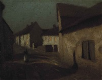 figure on a village street at dusk by algernon talmage
