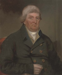 portrait of matthew martin esq., seated half-length, in a black coat and white tie by thomas snellgrove