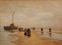 women traversing a coastal terrain with a boat visible by a. karssen