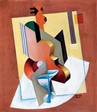 composition with fruit bowl and violin by béla kádár