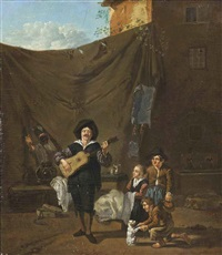 a guitar player with children looking on by karel dujardin