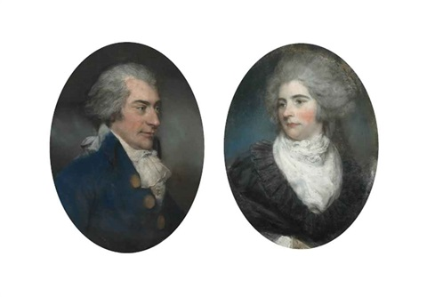 portrait of sir john frederick 5th bt 1750 1825 of burwood park walton on thames in a blue coat with powdered hair portrait of lady frederick née mary garth d 1794 in a white muslin dress with black lace cloak pair by john russell