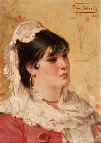 portrait of a young woman by léon herbo