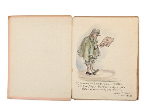 watercolour drawing in book by alfred kubin