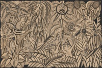 man with hat in tree looking down on two hunters chasing a deer, one with spear, the other with a knife by ida made peguh