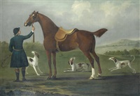 a huntsman with his horse and three hounds, in an open landscape by richard roper