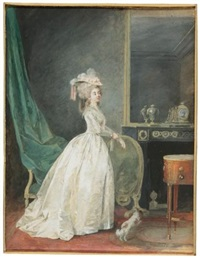 a lady standing in an interior, preparing to go out with her dog by niklas lafrensen the younger