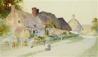 girls and ducks by thatched cottages (pair) by arthur claude strachan