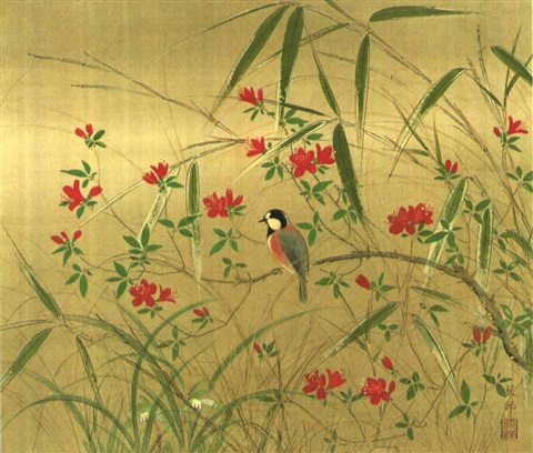 small bird by the azalea by zenjiro uda