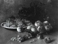 nature morte aux pêches et aux raisins by edouard gabriel francois ampenot