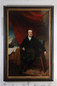 portrait of john thomas barber beaumont, seated, in a black coat, holding a quill in his right hand, by a table with an inkstand and documents inscribed... by henry william pickersgill