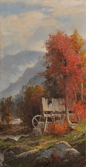 autumn landscape with old mill by george w. waters