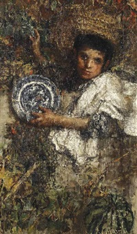 an italian boy in a vineyard (recto); study of a boy (verso) by antonio mancini