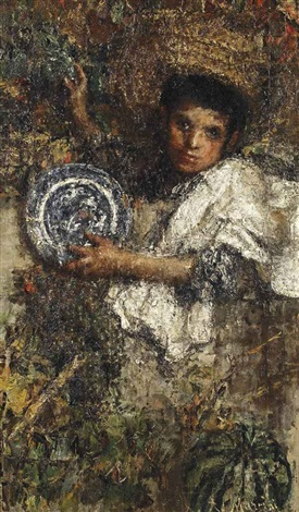 an italian boy in a vineyard recto study of a boy verso by antonio mancini