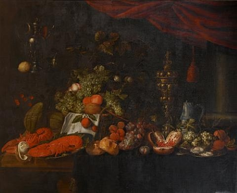 a still life of pewter dishes of lobsters and oysters a silver gilt covered cup grapes pomegranates and bread rolls on a draped table with a basket of grapes and peaches by jan pauwel gillemans the elder