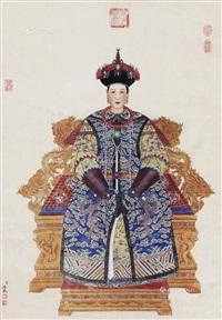 太上皇后像 镜片 设色绢本 (the queen's figure) by leng mei