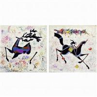 classic horse & deer (2 works) by li zhongliang