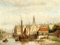 view of moored boats (+ view of ships in a harbour; 2 works) by john frederik hulk the younger