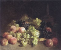peaches, white grapes, black grapes, a glass and a decanter by louis mettling