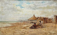 beach scene from italy by heinrich rasch